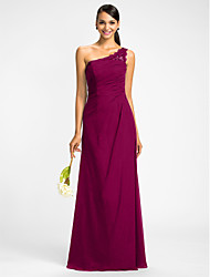 Sheath / Column One Shoulder Floor Length Chiffon Bridesmaid Dress with Beading Appliques Side Draping by LAN TING BRIDE®