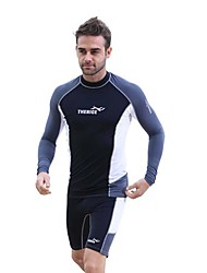 cheap -Men's Rash Guard Dive Skin Suit SPF30, UV Sun Protection, Quick Dry Chinlon Long Sleeve Swimwear Beach Wear Diving Suit Fashion Diving / Breathable / Anatomic Design / Stretchy / Breathable
