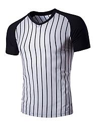 abordables -Tee-shirt Homme, Couleur Pleine Rayé Sports Rétro Coton