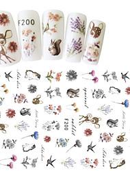 1pcs Fashion Lovely Cartoon Animal Design Nail Art 3D Sticker Cute Rabbit Deer Bird Beautiful Flower Design Decoration F200