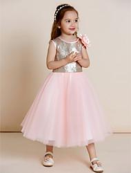 economico -a-line vestito ragazza fiore di lunghezza del tè - collo di tulipano sleeveless sequined tulle con drappeggio da thstylee