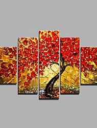 Hand-Painted Modern Tree & Plants Oil Painting Five Panel Canvas Oil Painting Multi Split Oil Painting