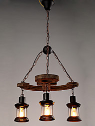 3 Heads Industrial Loft Style Amercian Countryside Vintage Wooden Chandelier Lamp for the Foyer / Coffee Room / Bar Decorate Pendant Lamp