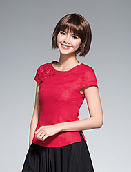 cheap -Women's Daily Casual Shirt,Solid Round Neck Short Sleeves Linen