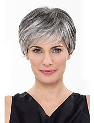 Fashionable Women's Glueless Short Curly Silver grey Synthetic Hair Wig