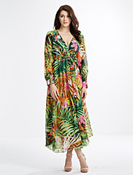 cheap -Women's Plus Size Holiday Boho Lantern Sleeve Silk Loose / Chiffon Dress - Floral High Rise Maxi V Neck / Fall