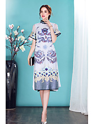 cheap -I-YECHO Women's Daily Going out Chinoiserie Sheath Dress,Embroidered Stand Knee-length Short Sleeves Silk Spring Summer Mid Rise Inelastic Thin