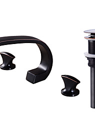 cheap -Contemporary Widespread Clawfoot Brass Valve Two Handles Three Holes Oil-rubbed Bronze, Faucet Set