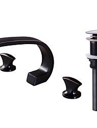 Недорогие -Современный Разбросанная Фигурные ножки Медный клапан Две ручки три отверстия Начищенная бронза , Ванная раковина кран