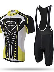 cheap -XINTOWN Cycling Jersey with Bib Shorts Men's Short Sleeves Bike Bib Tights Jersey Quick Dry Front Zipper Breathable Soft Compression 3D
