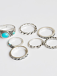cheap -Ring Midi Rings Turquoise Basic Unique Design Turkish Handmade Bohemian Classic DIY Chrome Turquoise Flower Silver Jewelry ForWedding