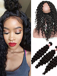 cheap -8A 360 Lace Frontal With Bundles Mongolian Virgin Hair Deep Wave Curly Pre Plucked 360 Frontal Closure With 3 Bundles Baby Hair