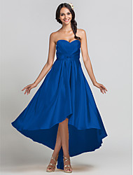 cheap -Sheath / Column Sweetheart Neckline Asymmetrical Stretch Satin Bridesmaid Dress with Beading / Draping / Criss Cross by LAN TING BRIDE® / Open Back