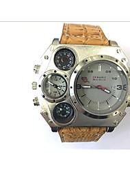 preiswerte -JUBAOLI Herrn Sportuhr Militäruhr Einzigartige kreative Uhr Quartz Kalender Duale Zeitzonen Leder Band Cool Schwarz Khaki