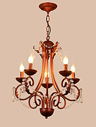 LightMyself 5 Lights Chandelier Modern/Contemporary Traditional/Lodge Vintage Retro Country Painting Feature for Crystal Metal Living Room