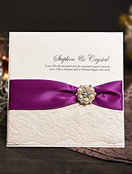 Side Fold Wedding Invitations Invitation Cards Modern Style Pearl Paper Ribbon Bow Laces