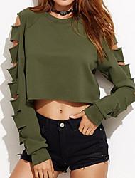 preiswerte -Damen Pullover Lässig/Alltäglich Solide Rundhalsausschnitt Mikro-elastisch Baumwolle Lange Ärmel Sommer