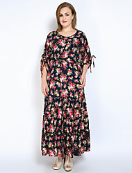 Really Love Women's Party Holiday Plus Size Vintage Sexy Sophisticated Loose Swing Dress,Floral Round Neck Maxi Long Sleeves Cotton Polyester All