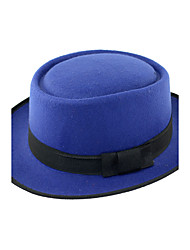 cheap -Men's Holiday Bristles Stitching Color Flat Top Bow Jazz Hat