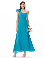 cheap -Sheath / Column One Shoulder Sweetheart Floor Length Chiffon Bridesmaid Dress with Flower Ruched Criss Cross by LAN TING BRIDE®