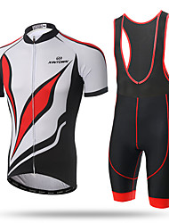 cheap -XINTOWN Men's Short Sleeves Cycling Jersey with Bib Shorts - Red/White Bike Bib Tights Jersey, Quick Dry, Ultraviolet Resistant,