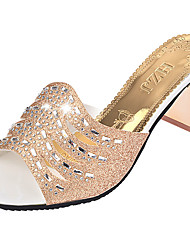 Damen Sandalen Komfort PU Sommer Normal Walking Komfort Strass Blockabsatz Gold Silber 5 - 7 cm