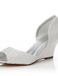 baratos -Feminino-Sapatos De Casamento-Conforto Sapatos Dyeable-Anabela-Ivory-Seda-Casamento Ar-Livre Escritório & Trabalho Social Festas & Noite