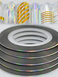 100pcs / box 1 milímetros 20 milímetros moda arco-íris espumante folha listrando fita linha de decoração arte do prego diy beleza laser