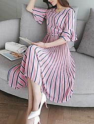 baratos -Mulheres Diário Bainha Médio Vestido Listrado Decote Redondo Manga Curta Seda Algodão Cintura Baixa Verão Outono
