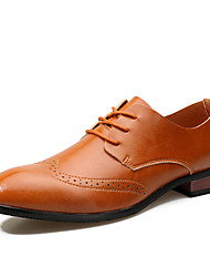 cheap -Men's Shoes Leather Spring Summer Formal Shoes Oxfords Walking Shoes Lace-up For Wedding Office & Career Party & Evening Black Brown