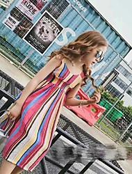 abordables -Vestido Chica de Rayas Algodón Sin Mangas Verano Rayas Fucsia