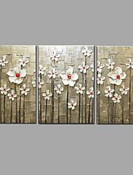 Pintado à mão pintura a óleo flor moderna faca 3 peça / set arte da parede com esticado emoldurado pronto para pendurar
