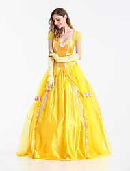 Princess Fairytale Queen Belle Cosplay Costume Movie Cosplay Yellow Dress Gloves Halloween Carnival New Year Terylene