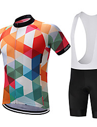 cheap -SUREA Men's Short Sleeves Cycling Jersey with Bib Shorts Bike Clothing Suits, Quick Dry, Breathable, Sweat-wicking, Reflective Strips,