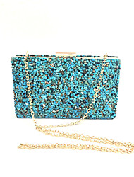 Women Bags Spring Summer Metal Satin Glitter Clutch Acrylic Jewels for Wedding Event/Party Formal Office & Career Blue White Black-white