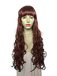 cheap -New Style Long Deep Wave Synthetic Fiber Heat Resistant Wig With Neat Bangs Fashion Wig Hairstyle