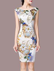 Gaine Robe Femme Sortie Grandes Tailles simple,Imprimé Col Arrondi Au dessus du genou Sans Manches Nylon Eté Taille Normale