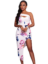 Women's Going out Party Bodycon Dress,Floral Strapless Maxi Sleeveless Polyester Spandex Summer High Rise Stretchy Medium