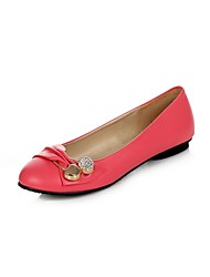 cheap -Women's Flats Spring Summer Comfort Leatherette Dress Casual Flat Heel Buckle Blushing Pink Green Red Black White Walking