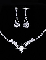 cheap -Women's Drop Earrings Choker Necklace Bridal Jewelry Sets AAA Cubic Zirconia Rhinestone Cubic Zirconia Silver Heart Classic Vintage