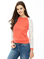 cheap -Women's Lace All Match Lace Patchwork T-shirt,Round Neck Long Sleeve