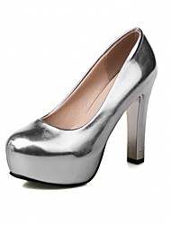cheap -Women's Shoes Leatherette Spring / Fall Comfort Heels Stiletto Heel Round Toe Silver / Red / Pink / Party & Evening / Dress