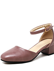 Women's Sandals Summer D'Orsay & Two-Piece Leatherette Wedding Party & Evening Dress Chunky Heel Buckle Hollow-outBlushing Pink Beige