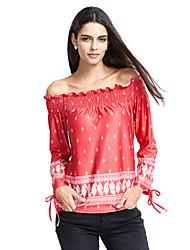 abordables -Mujer Chic de Calle Frunce Estampado Camiseta, Escote Barco