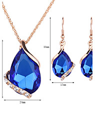 cheap -Women's Crystal Jewelry Set - Rose Gold, Crystal, Rhinestone Drop Fashion Include Drop Earrings / Pendant Necklace / Necklace / Earrings Red / Green / Blue For Wedding / Party / Daily