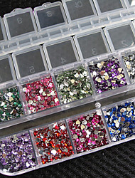 preiswerte -3000 PC Herzform Kristall Rhinestones Nagel Kunst Edelsteine mit Fall für Acryl Tipps uv Gel diy Deko