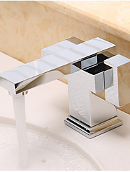 Moderna Arte Deco/Retro Modern Pia Separada with  Válvula Cerâmica Uma Abertura Duas alças de um furo for  Cromado , Torneira pia do