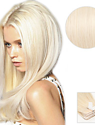20PCS Tape In Hair Extensions #60 Platinum Blonde Ash Blonde 40g 16Inch 20Inch 100% Human Hair For Women