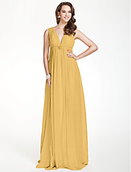 cheap -A-Line V Neck Floor Length Chiffon Bridesmaid Dress with Beading Draping Pleats Crystal Brooch by LAN TING BRIDE®