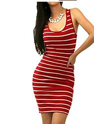 baratos -Mulheres Tubinho Vestido Listrado Decote em U Profundo